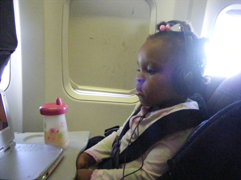 My daughter on a Southwest Airlines flight. Photo by Benet J. Wilson