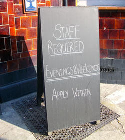 apply within sign  staff needed