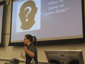 Jaimi Dowdell, training director for IRE, speaks at 2010 CAR Conference at the Cronkite School on backgrounding people and businesses.