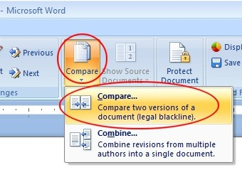 Microsoft Word compare two documents tool