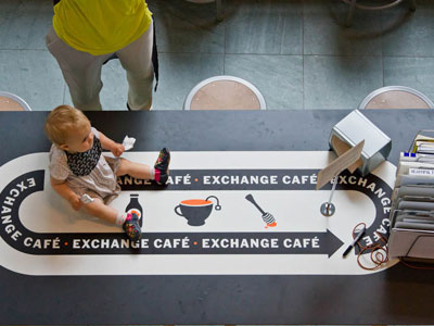 Exchange Cafe baby on counter