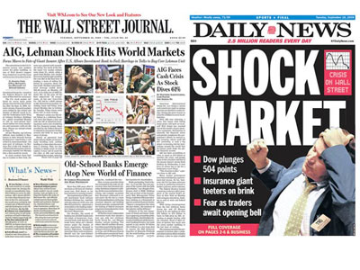 Lehman Bros meltdown news pages