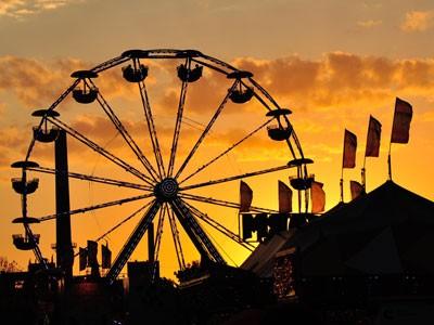 Minnesota State Fair ferris wheel in sunset