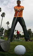 golfer shot from the ball's point of view