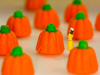 Pumpkin candy and tiny doll