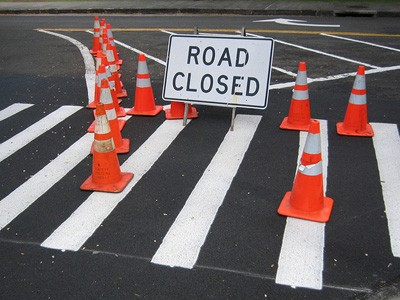 Road closed intersection