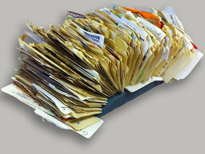 Old Rolodex stuffed with names