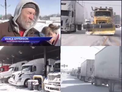 Truckers stuck in snow