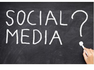 Social media in chalk on blackboard