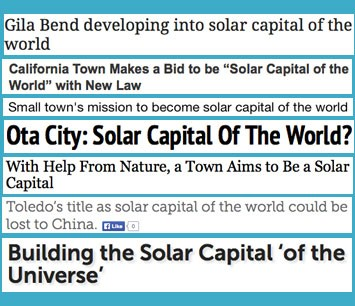 Solar capital of the world headlines