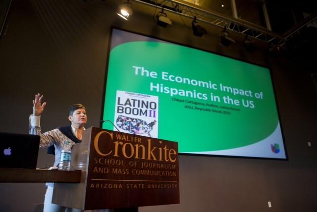 Univision VP Chiqui Cartagena speaks to Reynolds Week 2015. Photo: Dominic J. Valente