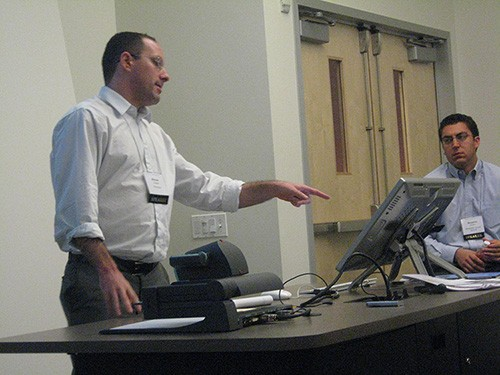 Michael Grabell leads a training session.