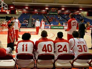 Radford University basketball team prepares to be introduced by Flickr user Aaron McDowell