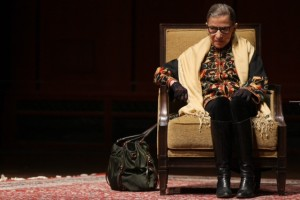 Supreme Court Justice Ruth Bader Ginsburg addresses an audience at the University of Michigan on Friday. Photo by Patrick Record (2015)  MLive and The Ann Arbor News. Used with permission of MLive and The Ann Arbor News