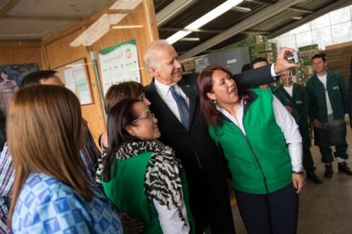 Joe Biden shoots a selfie during a South American trip. Photo: The White House