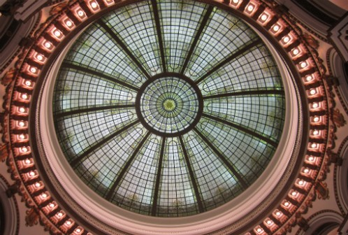 The dome ceiling of the Cleveland Trust Rotunda. (Via OHPTC on Flickr.com)