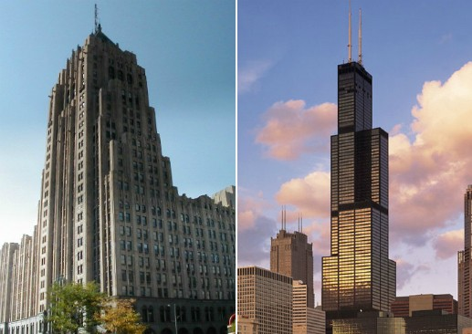 The Fisher Building in Detroit and Willis Tower in Chicago.