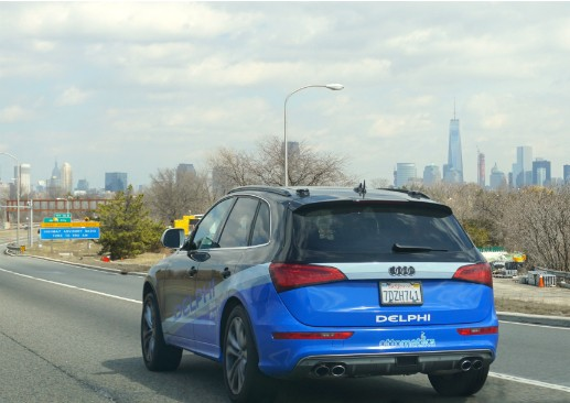 Delphi's driverless car approaching New York City earlier this month. (Via www.delphi.com)