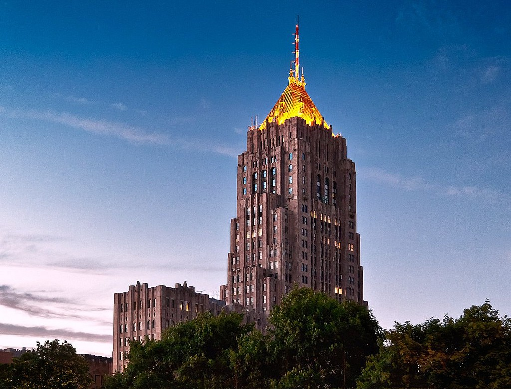 The golden tower of the Fisher Building. Photo by MGSmith on Flickr