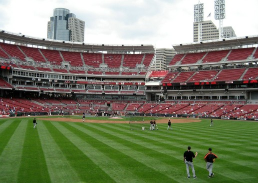 The Reds' Great American Ball Park. (Via Flickr.com user Wally Gobetz)
