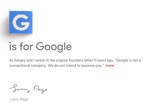 A screenshot from Alphabet Inc.'s website.
