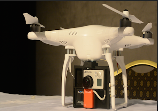 Phantom drone outfitted with a camera. (Photo courtesy of Nathalie Dortonne, ONA Student Newsroom)
