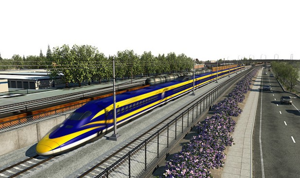 A rendering of California's high-speed rail line. Image courtesy of the California High-Speed Rail Authority