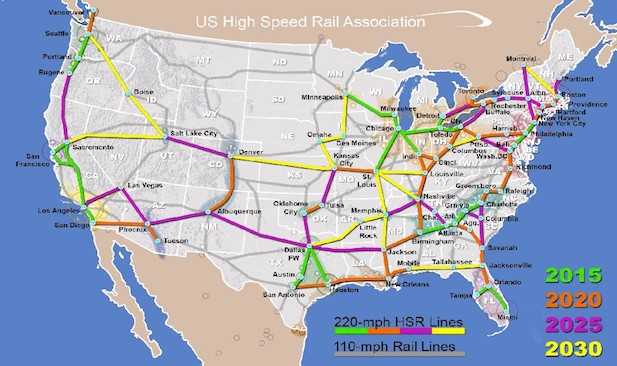 Map courtesy of the U.S. High Speed Rail Association
