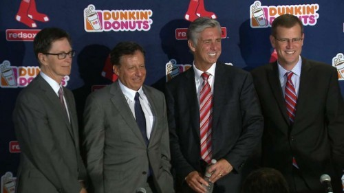 Dave Dombrowski, second from right, on the day he was named GM of the Boston Red Sox. Photo via MLB.