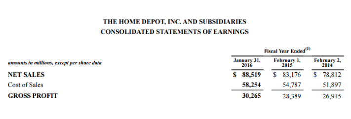 Home Depot consolidated statement earnings