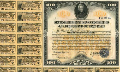 Historic gold bond with coupons attached. (Copyright George H. LaBarre Galleries Inc. www.glabarre.com, used by permission)