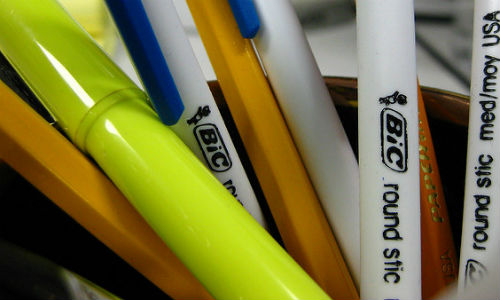 "Reading a 10-Q calls for patience—and a highlighter. (""Pens at Work"" image by ""Jenny"" via Flickr, CC BY 2.0)"