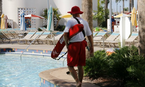 Lifeguard watching a pool